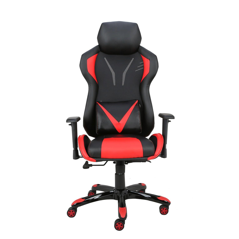 Cadeira Gamer Giratória Regulável Reclinável + Braço com ajuste de altura + Sistema Relax Vermelha Victory - at.home