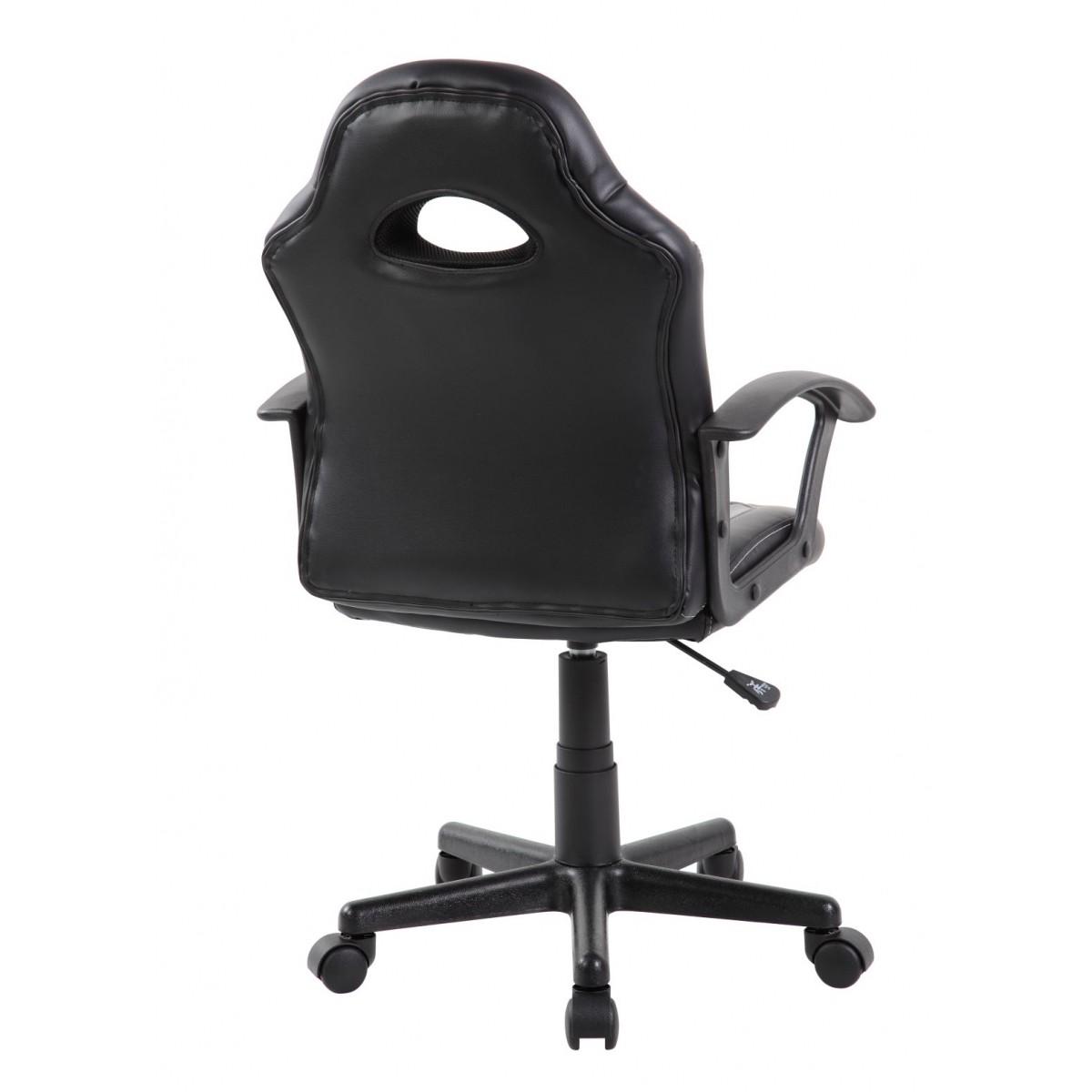 Cadeira Gamer Kids em Couro PU Preta com Cinza Pelegrin PEL-9353