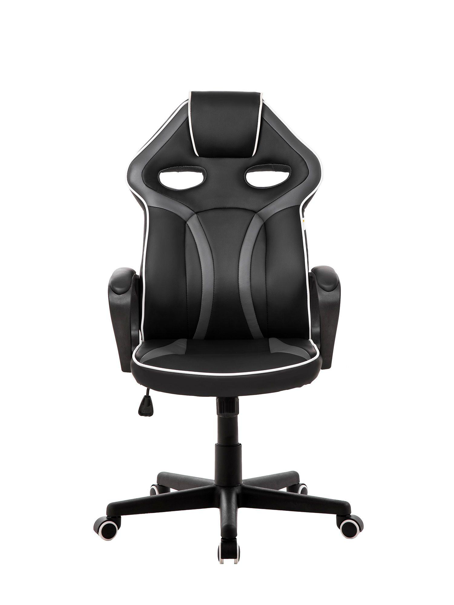 Cadeira Gamer Pelegrin em Couro PU PEL-3017 Preta e Cinza