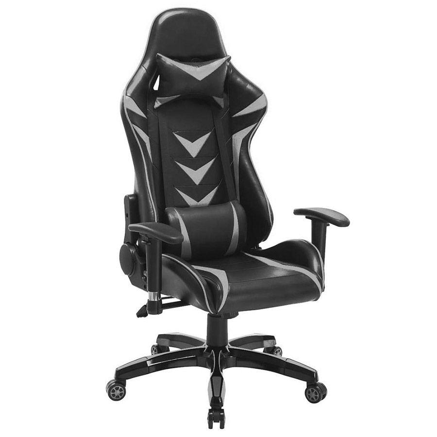 Cadeira Gamer Pelegrin em Couro PU Reclinável PEL-3003 Preta e Cinza