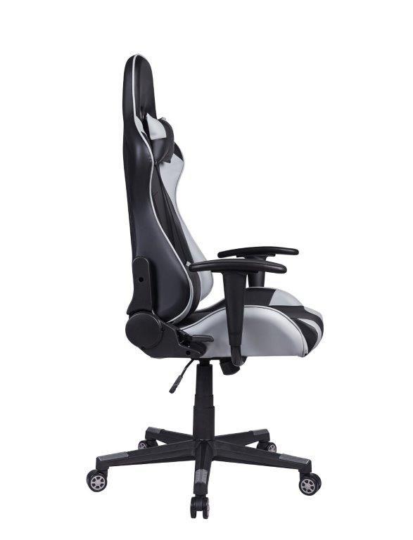 Cadeira Gamer Pelegrin em Couro PU Reclinável PEL-3012 Preta e Cinza