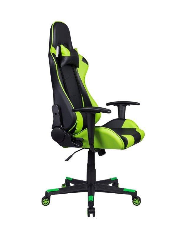 Cadeira Gamer Pelegrin em Couro PU Reclinável PEL-3012 Preta e Verde