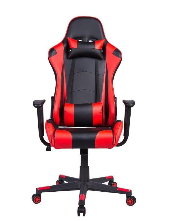 Cadeira Gamer Pelegrin em Couro PU Reclinável PEL-3012 Preta e Vermelha