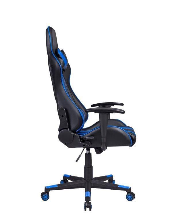 Cadeira Gamer Pelegrin em Couro PU Reclinável PEL-3013 Preta e Azul