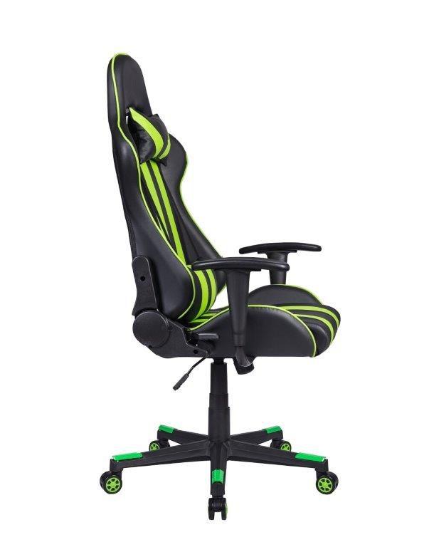 Cadeira Gamer Pelegrin em Couro PU Reclinável PEL-3013 Preta e Verde