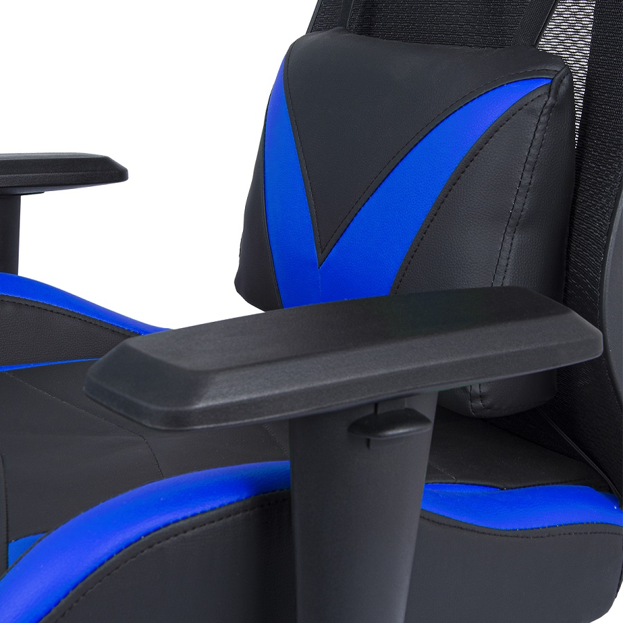 Cadeira Gamer Pelegrin em Couro PU Reclinável PEL-3014 Preta e Azul