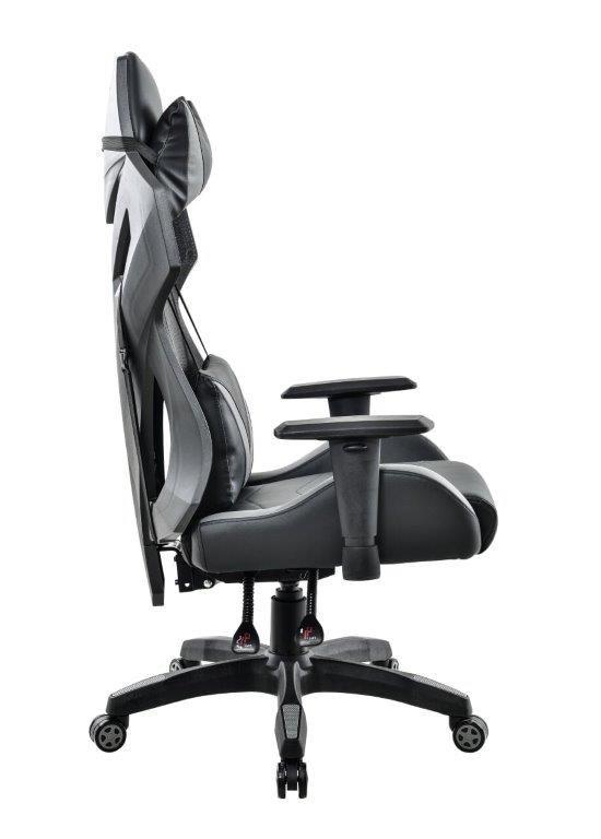 Cadeira Gamer Pelegrin em Couro PU Reclinável PEL-3014 Preta e Cinza