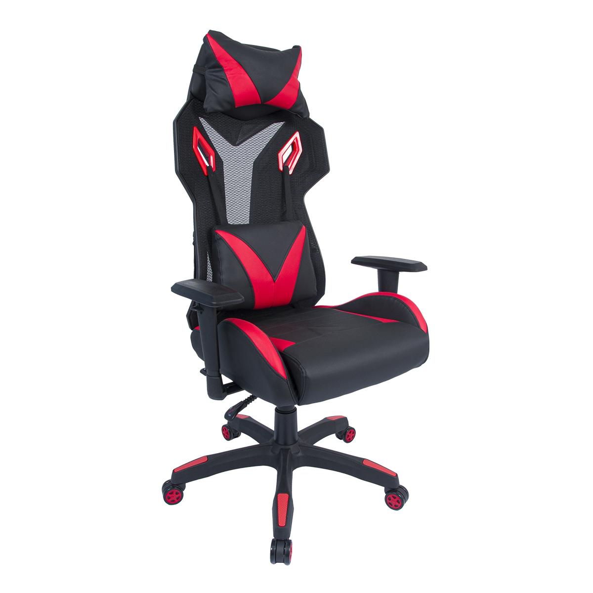 Cadeira Gamer Pelegrin em Couro PU Reclinável PEL-3014 Preta e Vermelha