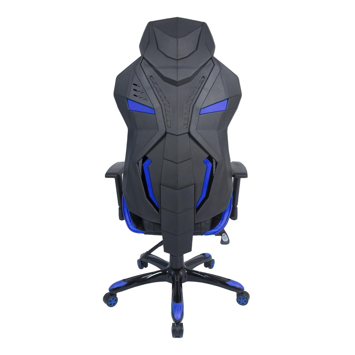 Cadeira Gamer Pelegrin em Couro PU Reclinável PEL-3015 Preta e Azul
