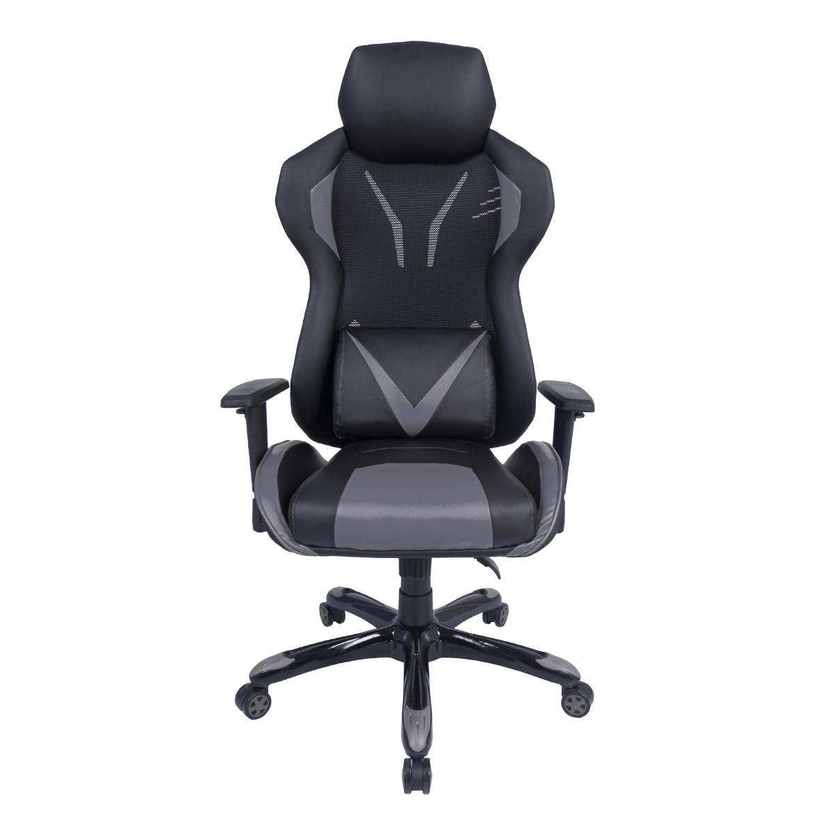 Cadeira Gamer Pelegrin em Couro PU Reclinável PEL-3015 Preta e Cinza
