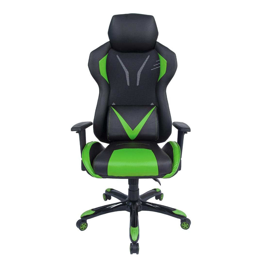 Cadeira Gamer Pelegrin em Couro PU Reclinável PEL-3015 Preta e Verde