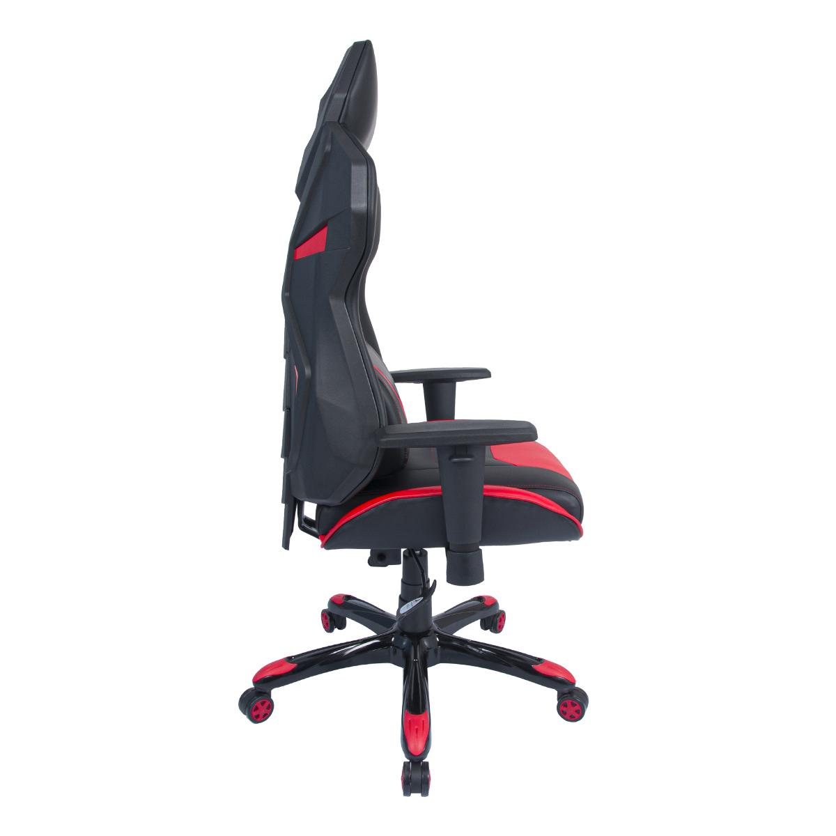 Cadeira Gamer Pelegrin em Couro PU Reclinável PEL-3015 Preta e Vermelha