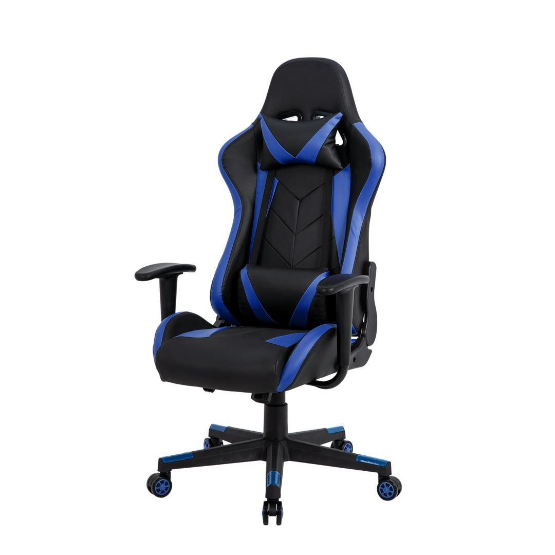 Cadeira Gamer Pelegrin em Couro PU Reclinável PEL-3019 Preta e Azul