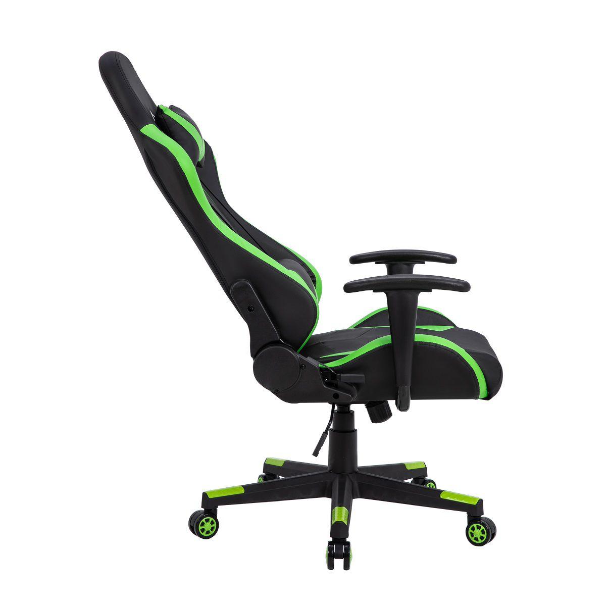 Cadeira Gamer Pelegrin em Couro PU Reclinável PEL-3019 Preta e Verde