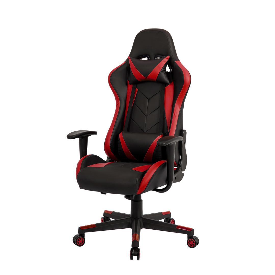 Cadeira Gamer Pelegrin em Couro PU Reclinável PEL-3019 Preta e Vermelha