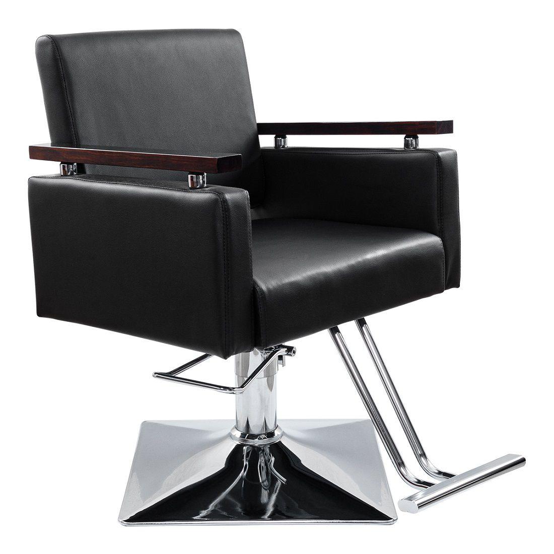Cadeira Hidráulica para Salão Pelegrin PEL-5939 em Couro Pu Preta