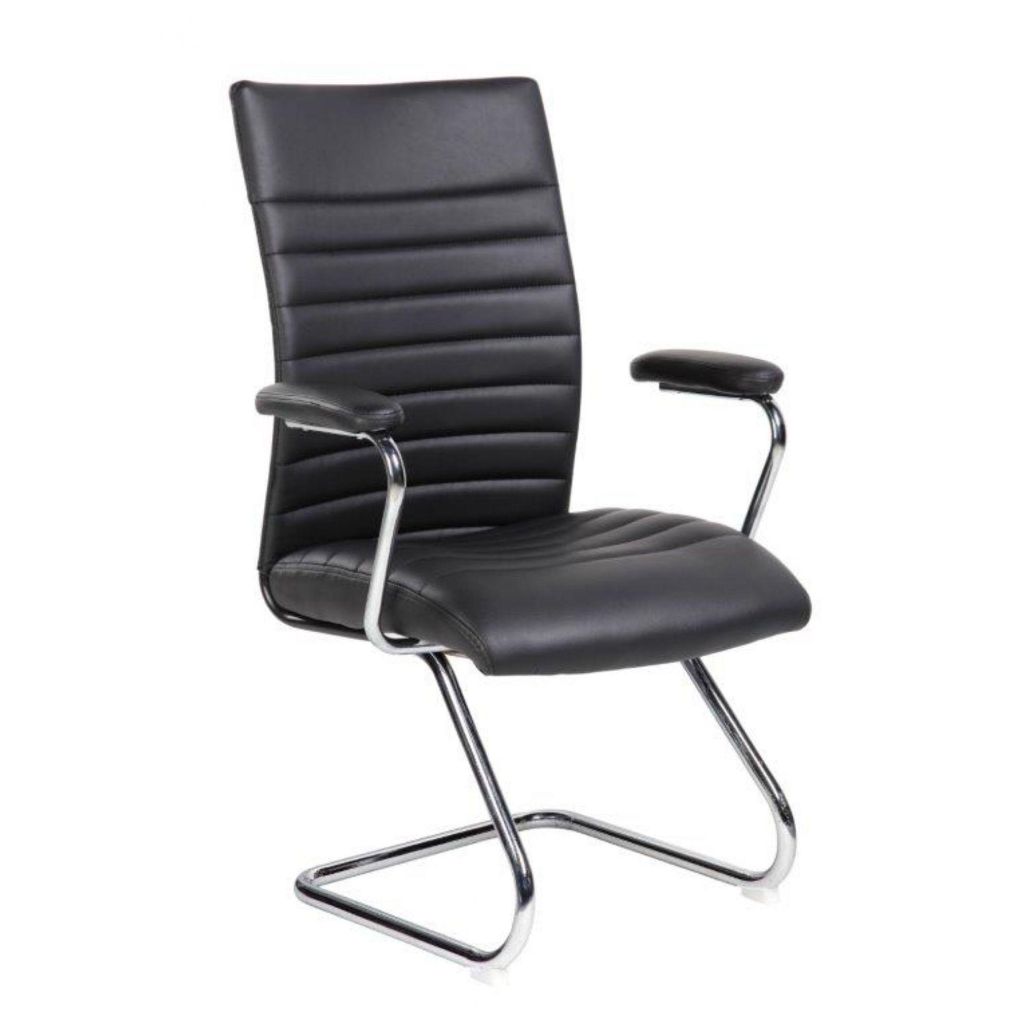 Cadeira Interlocutor Pelegrin Em Couro Pu Preta PEL-9023V