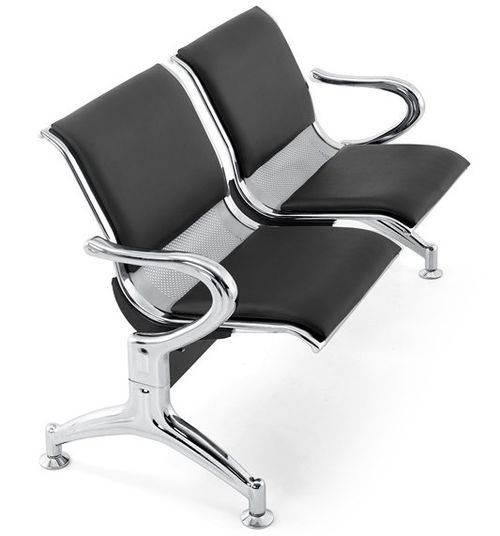 Cadeira Longarina Aeroporto Cromada com Estofamento 2 Lugares