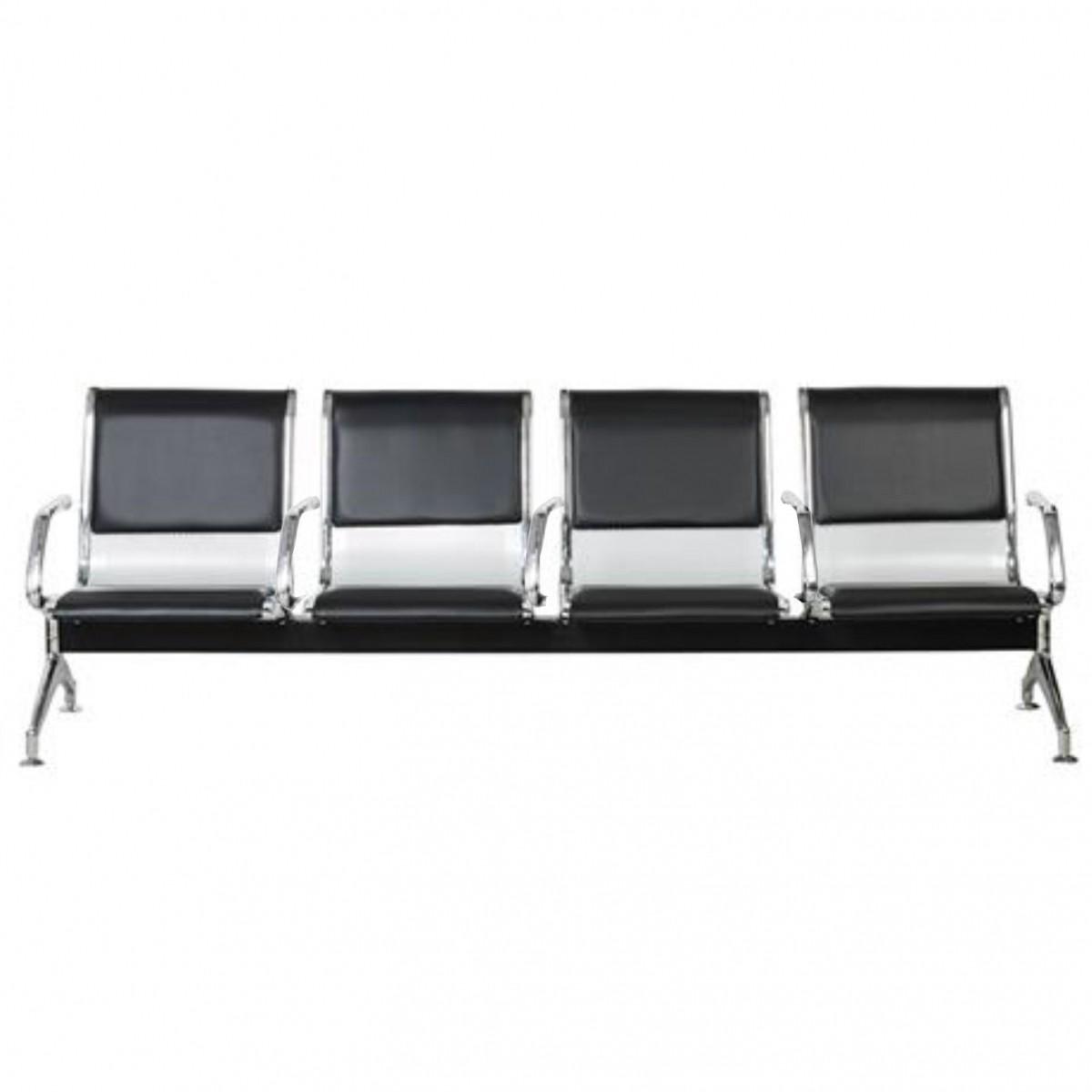 Cadeira Longarina Aeroporto Cromada com Estofamento 4 Lugares Com Braços