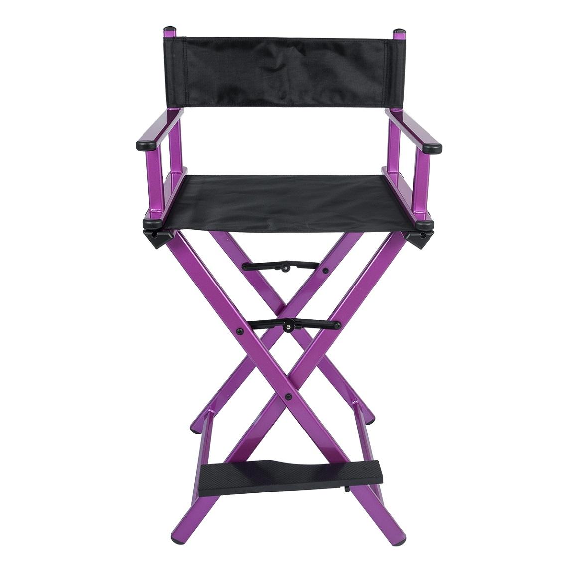 Cadeira Maquiador Diretor Cinema Alumínio Pelegrin PEL-Y01C Preta e Rosa