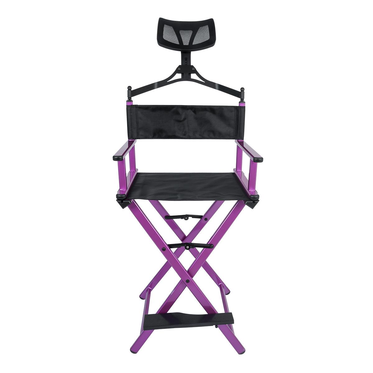 Cadeira Maquiador Diretor Cinema Alumínio Pelegrin PEL-Y02C Preta e Rosa