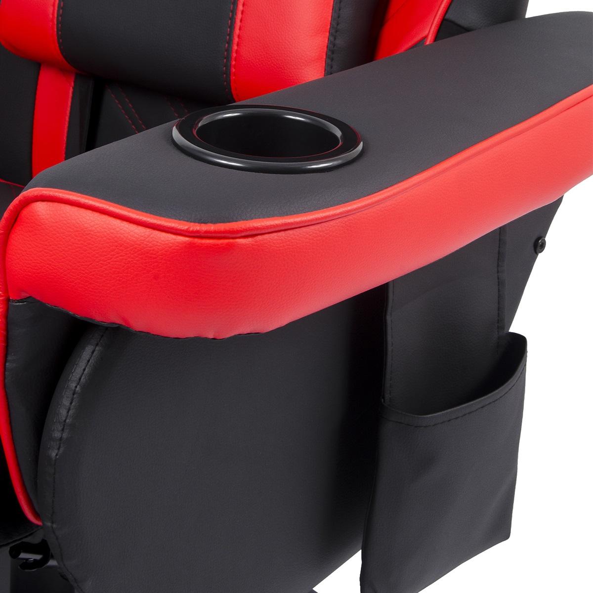 Cadeira Poltrona Gamer Pelegrin PEL-Y107 Couro PU Preta e Vermelha