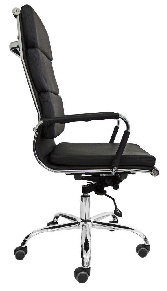 Cadeira Presidente Design Eames Preta em Couro PU - Orb
