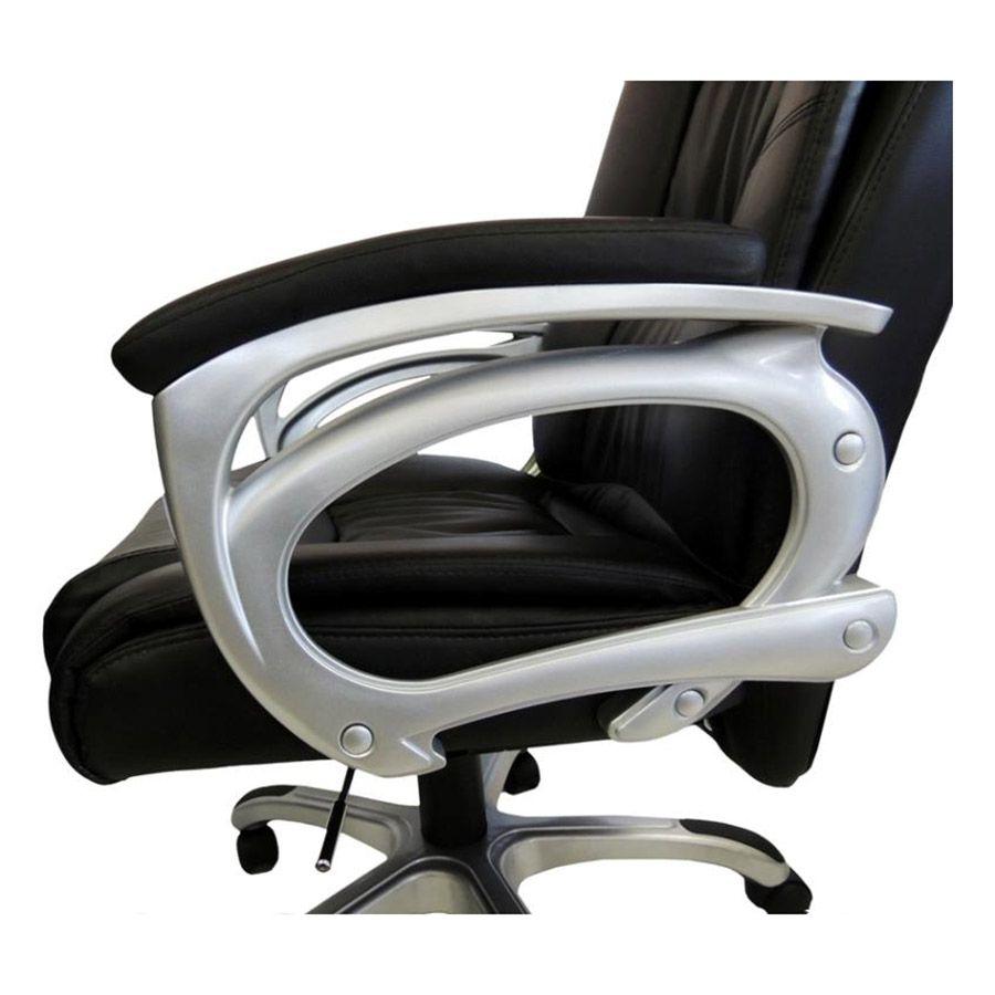 Cadeira Presidente em Couro PU PEL-1652 Preta Reclinável Pelegrin