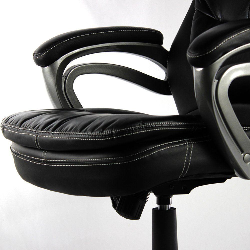 Cadeira Presidente em Couro PU PEL-9018H Preto com Tabaco Pelegrin