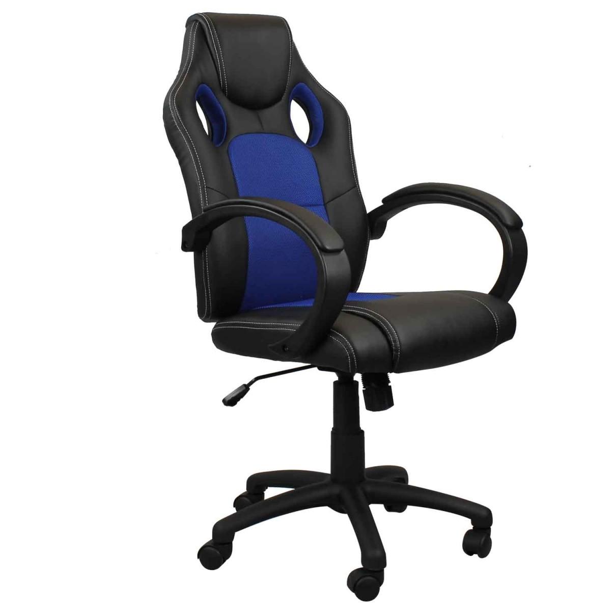 Cadeira Presidente Gamer em Couro PU Preta com Azul Pelegrin PEL – 3002