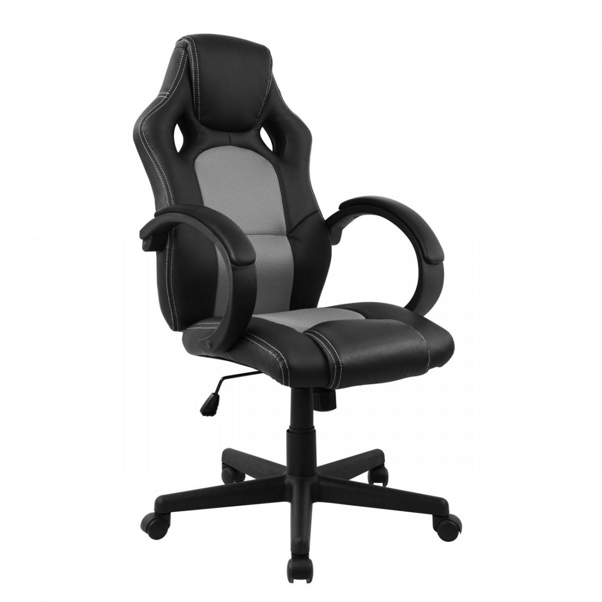 Cadeira Presidente Gamer em Couro PU Preta com Cinza Pelegrin PEL–3002