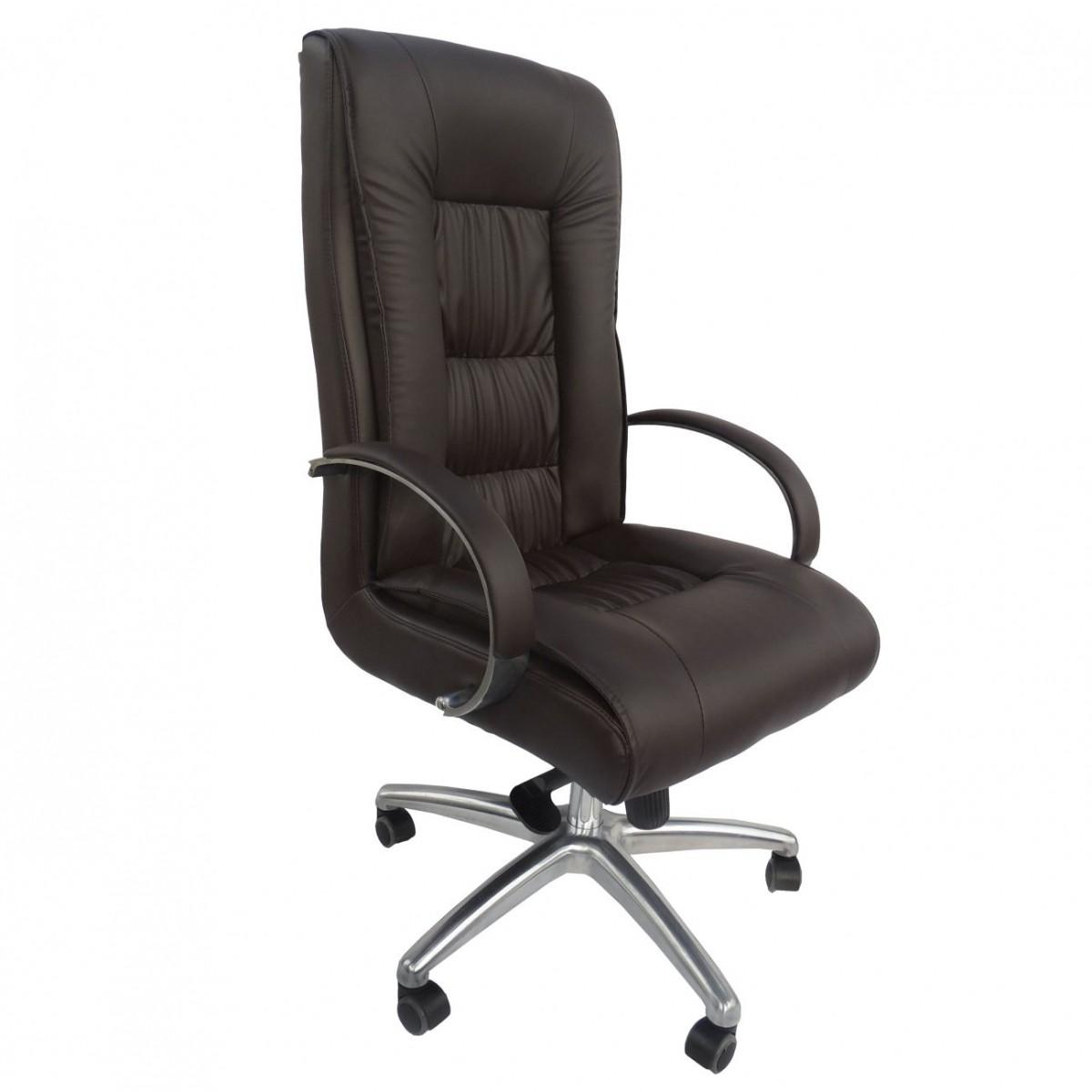 Cadeira Presidente Giratória Em Couro PU Marrom Pelegrin PEL-8017H