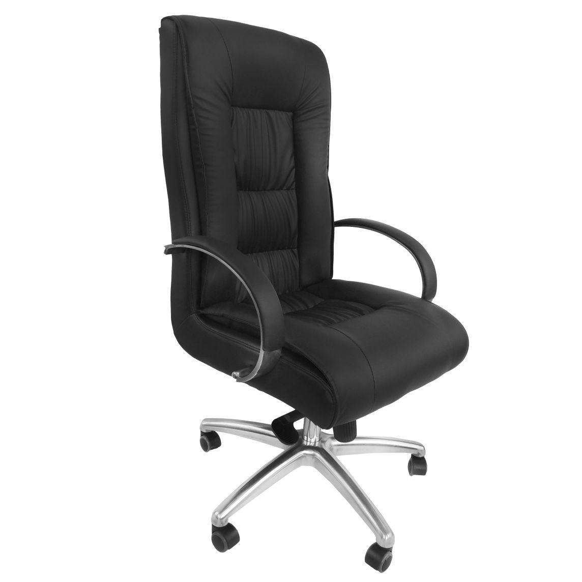 Cadeira Presidente Giratória Em Couro PU Preta Pelegrin PEL-8017H