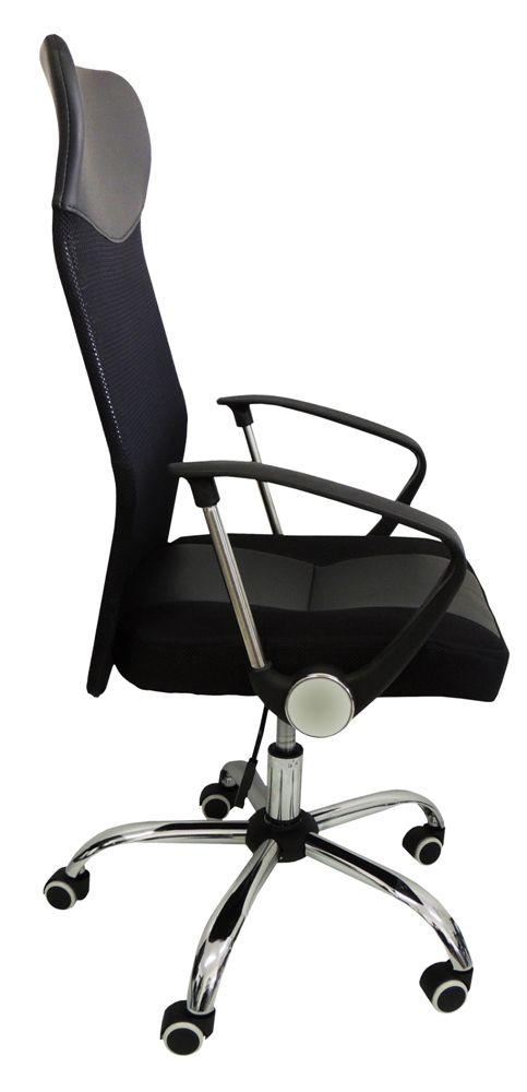 Cadeira Presidente Pel-8009 Giratória Regulagem De Altura A Gás Tela Mesh Preta - Pelegrin