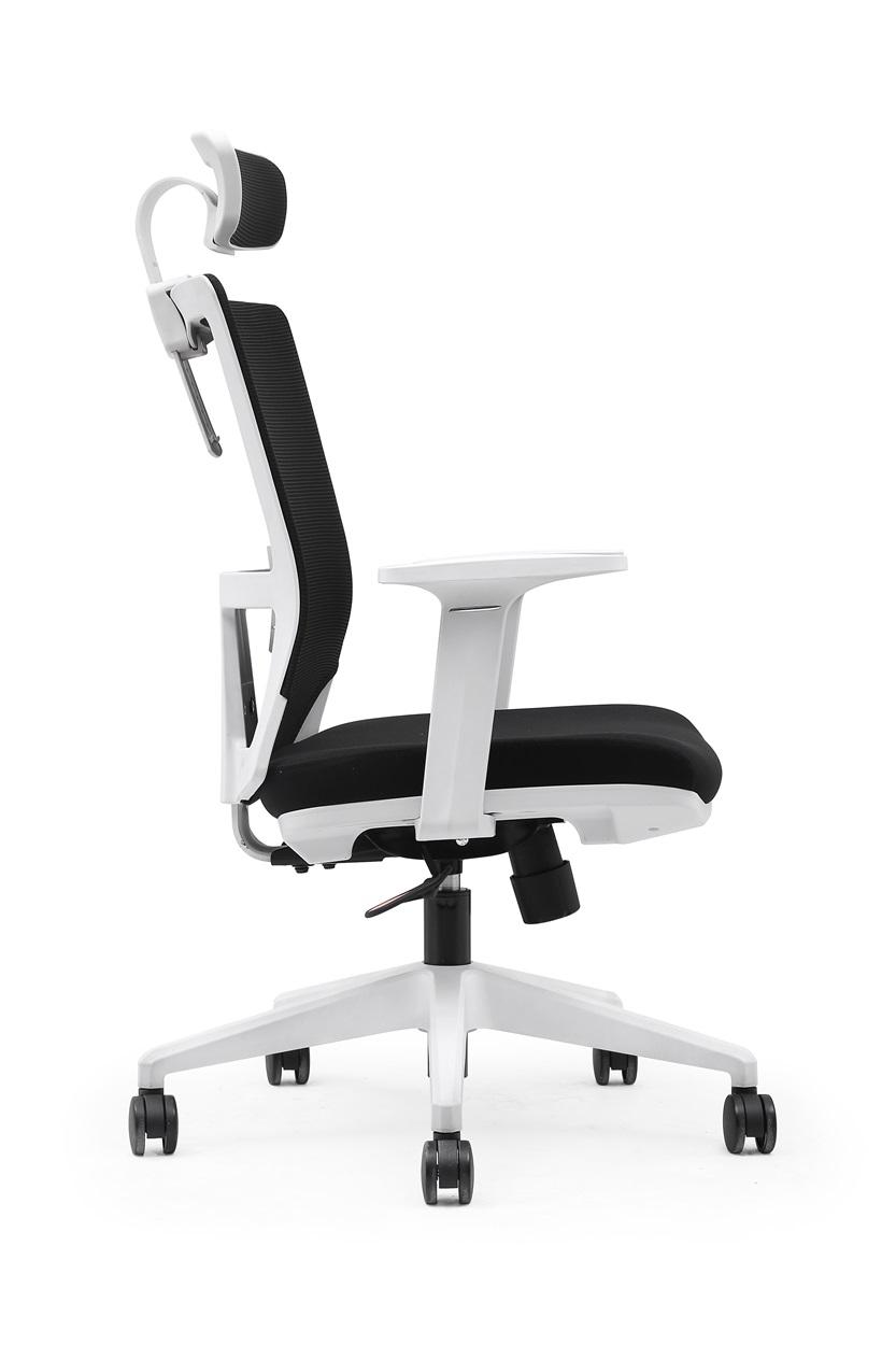 Cadeira Presidente Pelegrin Premium PEL-A105 Branca com Tela Mesh Preta