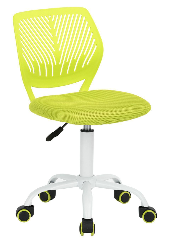 Cadeira Secretaria Kids Pelegrin PEL-3300 Tela Mesh Verde Limão e Branca