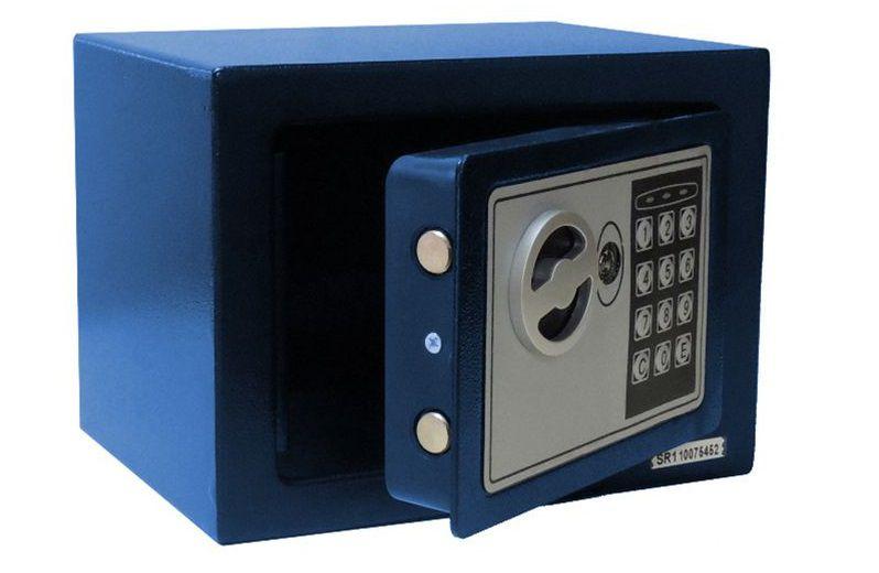Cofre Eletrônico Digital Pequeno (17x23x17cm) Pelegrin CH-17EF Em Aço Azul