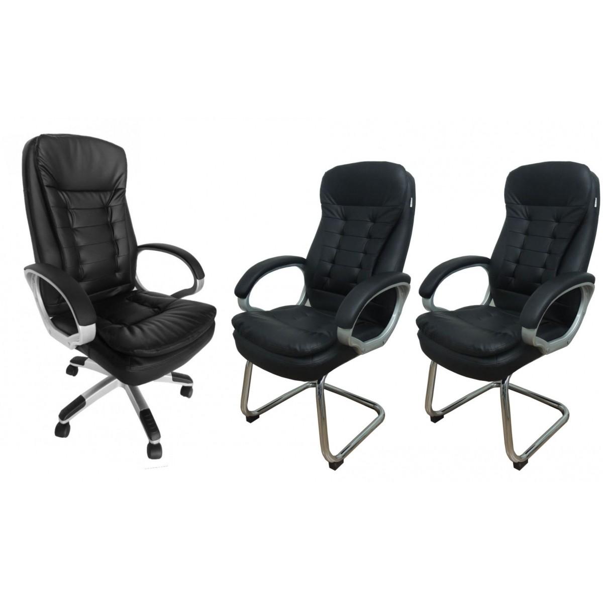 Conjunto 1 Cadeira Presidente e 2 Cadeiras interlocutores em Couro PU Pelegrin PEL-1693H/V