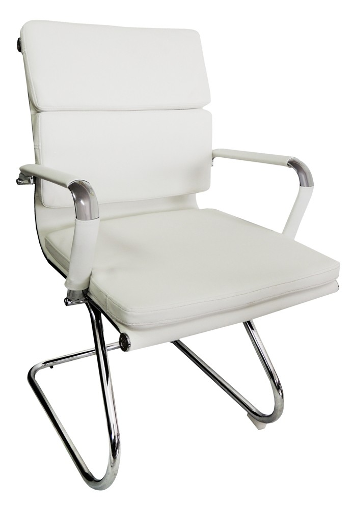 Conjunto 1 Cadeira Presidente e 2 Interlocutores Design Charles Eames em Couro PU Branca Pelegrin PEL-7089H3/V
