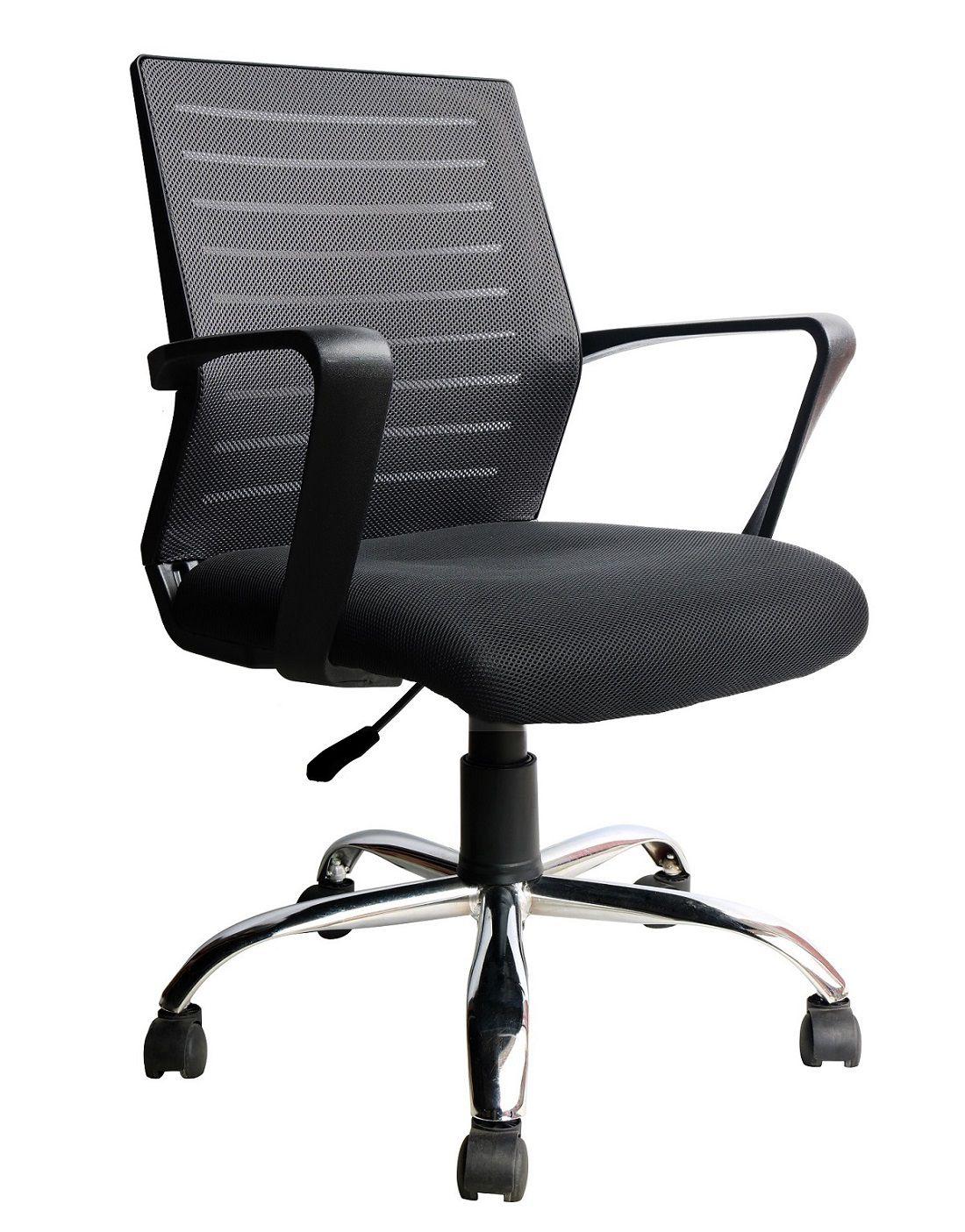 Conjunto com 1 Cadeira Diretor e 2 Cadeiras Interlocutor Pelegrin PEL-8501 Tela Mesh Preta