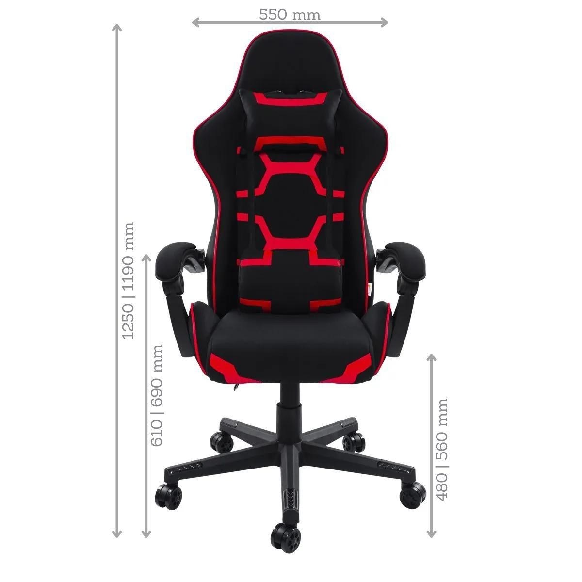 Conjunto Mesa Gamer Pelegrin PEL-003P Preta e Vermelha e Cadeira Gamer Pelegrin PEL-3018 Vermelha