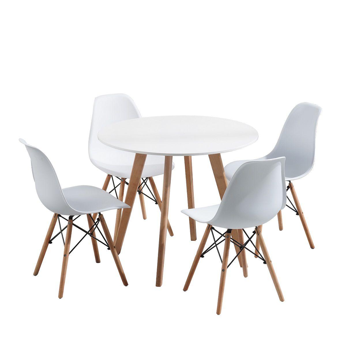 Conjunto Pelegrin Design Charles Eames Mesa Redonda 88cm com 4 Cadeiras Eiffel Branca