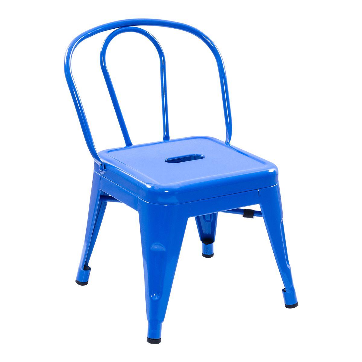 Conjunto Pelegrin Kids Design Tolix Mesa com 4 Cadeiras Infantil 70x70 Metal Azul