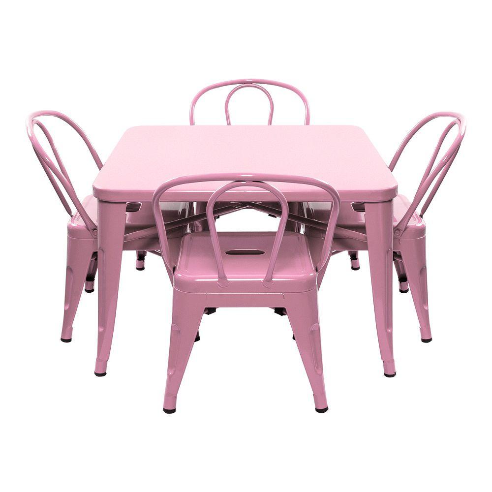 Conjunto Pelegrin Kids Design Tolix Mesa com 4 Cadeiras Infantil 70x70 Metal Rosa