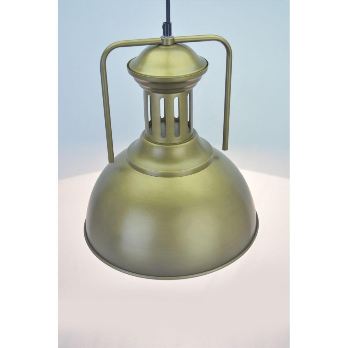 Lustre Pendente Retro Industrial VII Metal Dourado Pelegrin PEL-048
