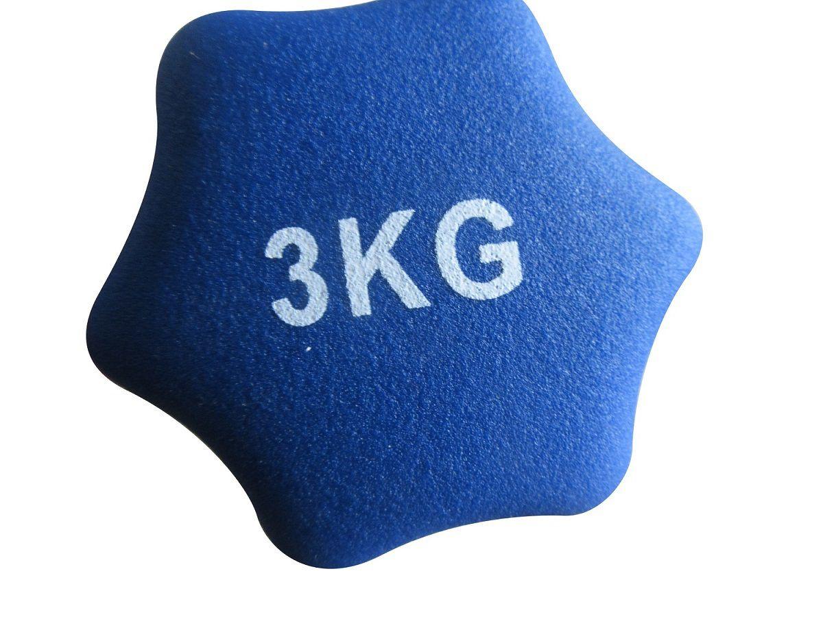 Haltere em Ferro Fundido Revestido com Neoprene Pelegrin  PEL-003D 3kg - Azul