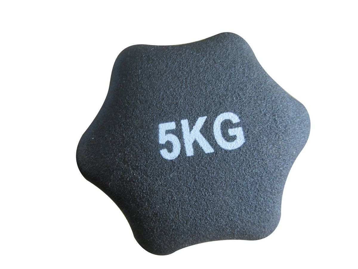 Haltere em Ferro Fundido Revestido com Neoprene Pelegrin  PEL-005D 5kg - Preto