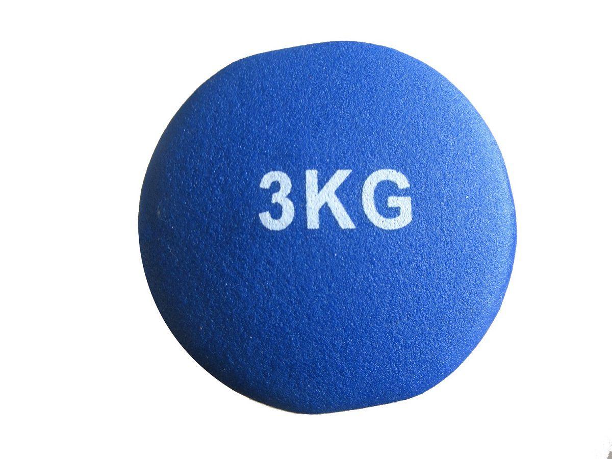 Haltere em Ferro Fundido Revestido com Neoprene Pelegrin  PEL-03DB 3kg - Azul