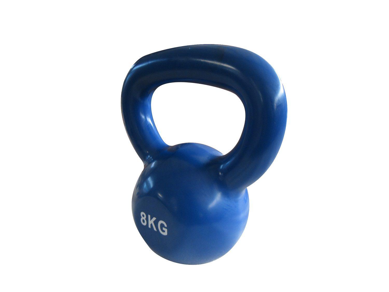 Haltere Kettlebell em ferro fundido Pelegrin PEL-08KB Emborrachado 8kg - Azul