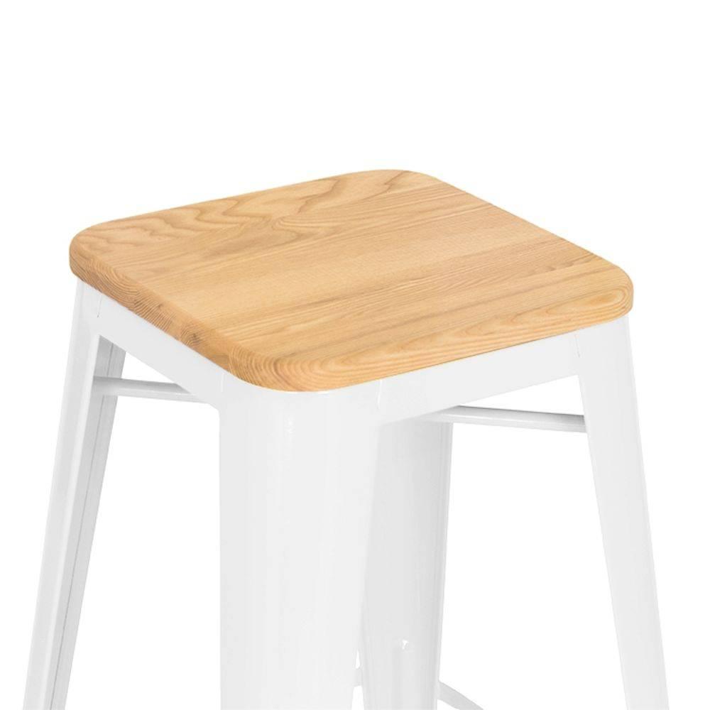 Kit 2 Banquetas Design Tolix Assento em Madeira Pelegrin PEL-1514 Fixa em Metal Branca